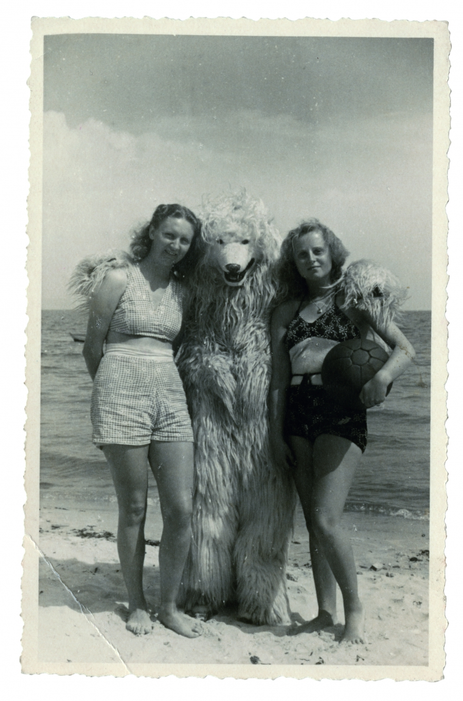 A polar bear on the beach with his arms around two bathing beauties.