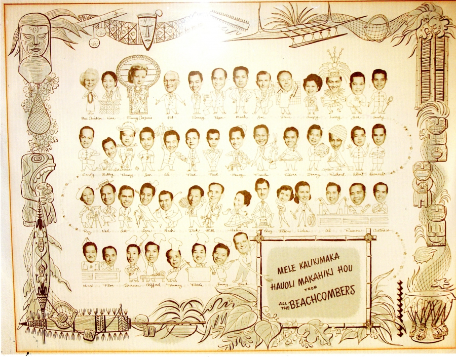 Vintage poster of faces, line drawing, with names below
