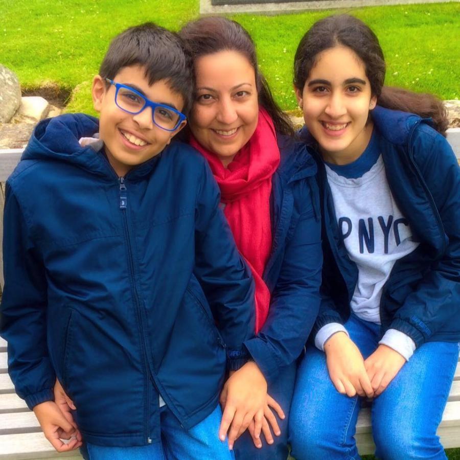 Tala Badri and her kids, Ali and Sara Al Hashimi.