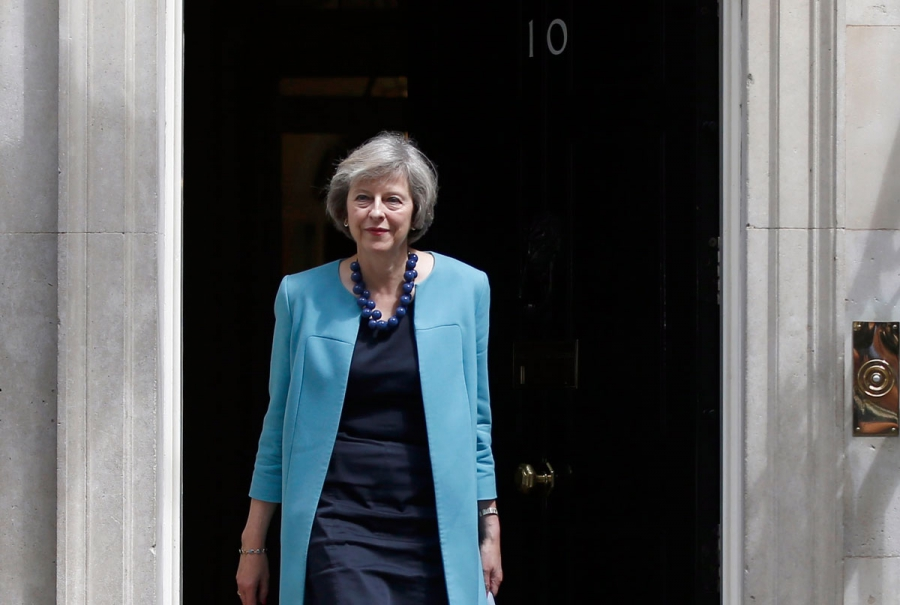 Britain's Home Secretary Theresa May, leaves after a cabinet meeting at Downing Street. May is a leading candidate to replace David Cameron.