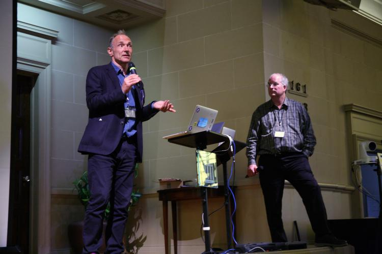 "Tim Berners-Lee, creator of the Worldwide Web, and Brewster Kahle, founder of the Internet Archive, at a June 7, 2016 ""Builders Day"" conference to build a decentralized Web"