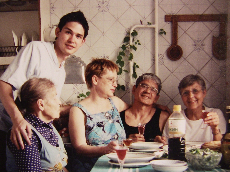(from left to right) Timur's grandmother Evdokia, Timur with his parents Ludmila and Victor Bekbosunov, and his American mom Delora Donovan, in Almaty, Kazakhstan in 1997.