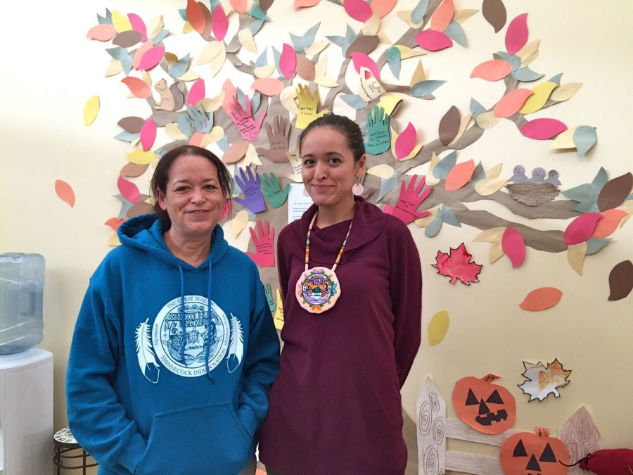 Tina Tarrant, language researcher with the Shinnecock Indian Nation, with her daughter Tohanash Tarrant, former manager of the Wuneechanunk Shinnecock Preschool.