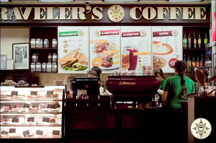 Here's a glimpse inside a Traveler's Coffee house in Russia.