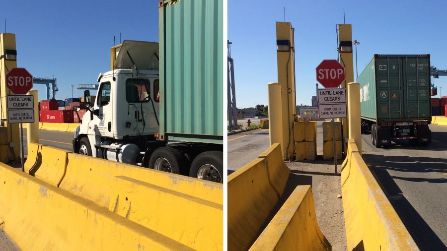 A truck exiting the Port of Boston passes through a radiation portal monitor.