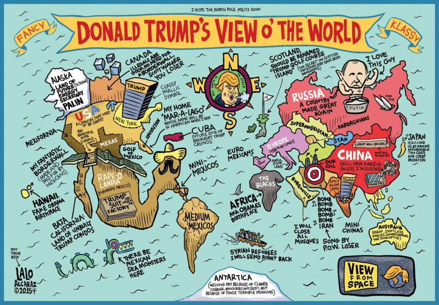 cartoon showing map of US according to Trump