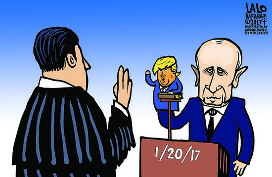 Cartoon of Vladimir Putin being sworn in as US president with a puppet shaped like Donald Trump