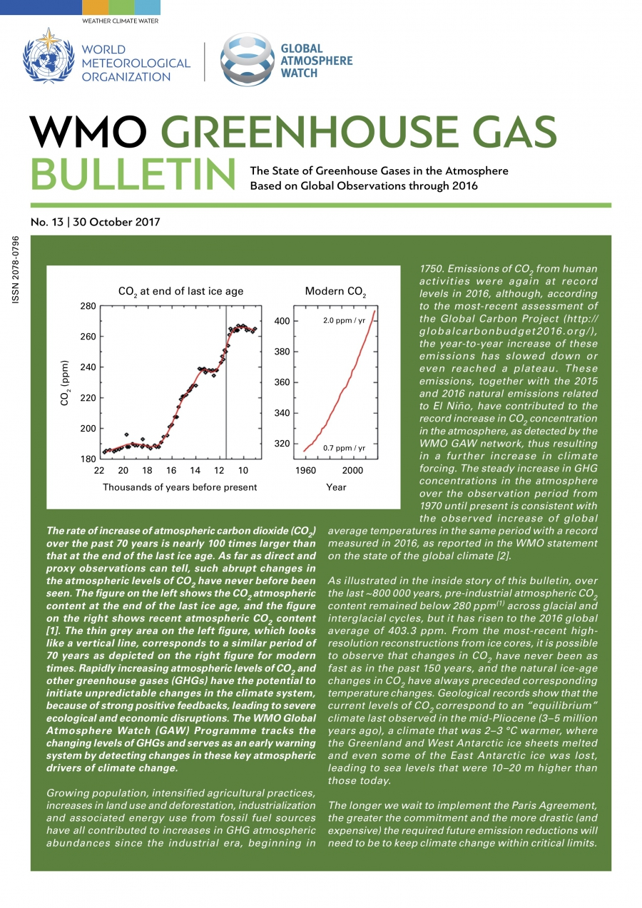 The latest WMO Greenhouse Gas Bulletin details a record increase in levels of CO2 in the atmosphere in 2016.