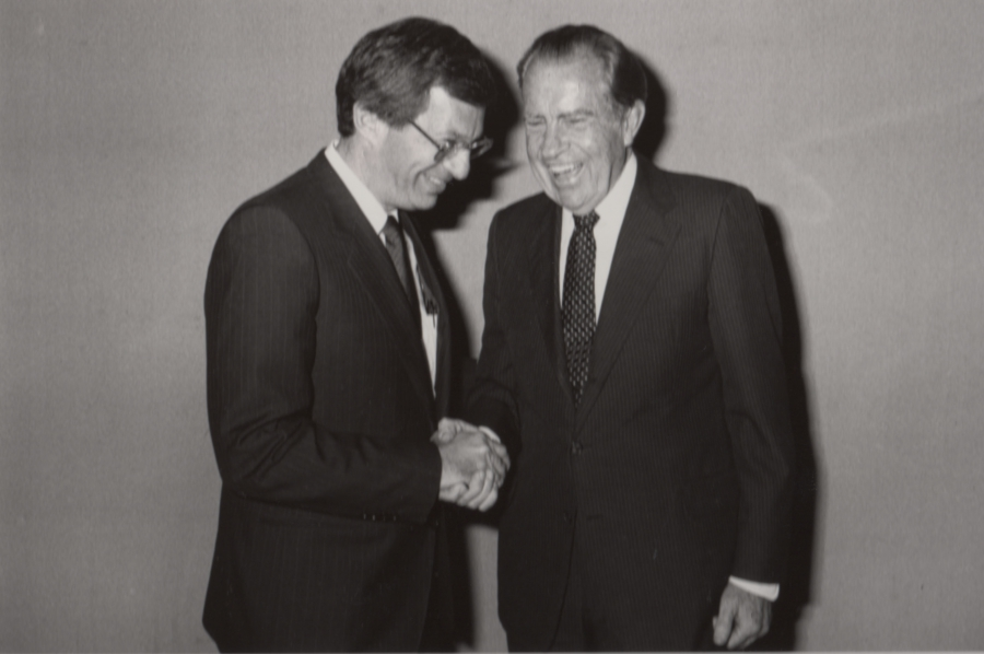 "From Vincent DeVita's personal file: ""With former president Richard Nixon. I asked him what he thought were the greatest achievements of his presidency. He said going to China and signing the National Cancer Act."""