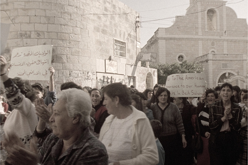 A 1987 photo of protests in Beit Sahaur. The West Ban town was a center of non-violent resistance to Israeli occupation at the start of the first Intifada.