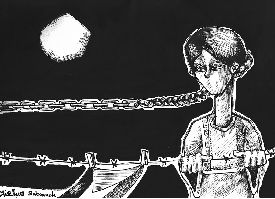 cartoon of woman's braid turning into a chain