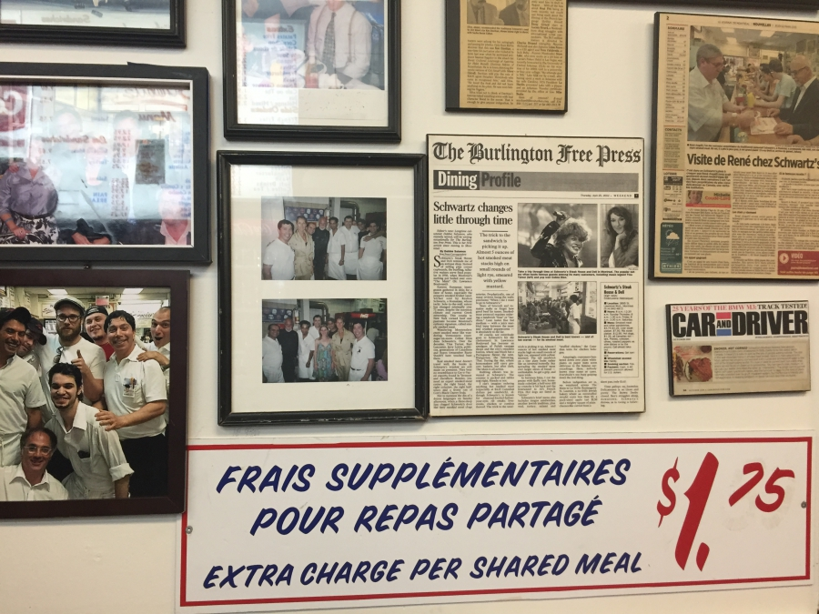 On the wall at Schwartz's of Montreal