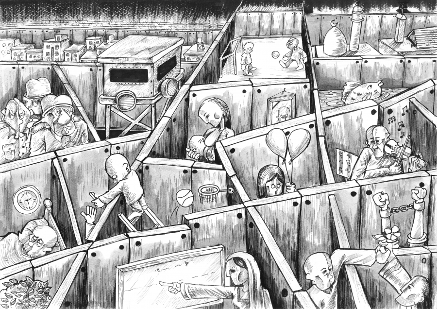 cartoon of crowded life for Palestinians in West Bank