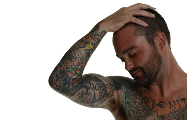 Jeff Slater's tattoos record the story of his time in the Army.