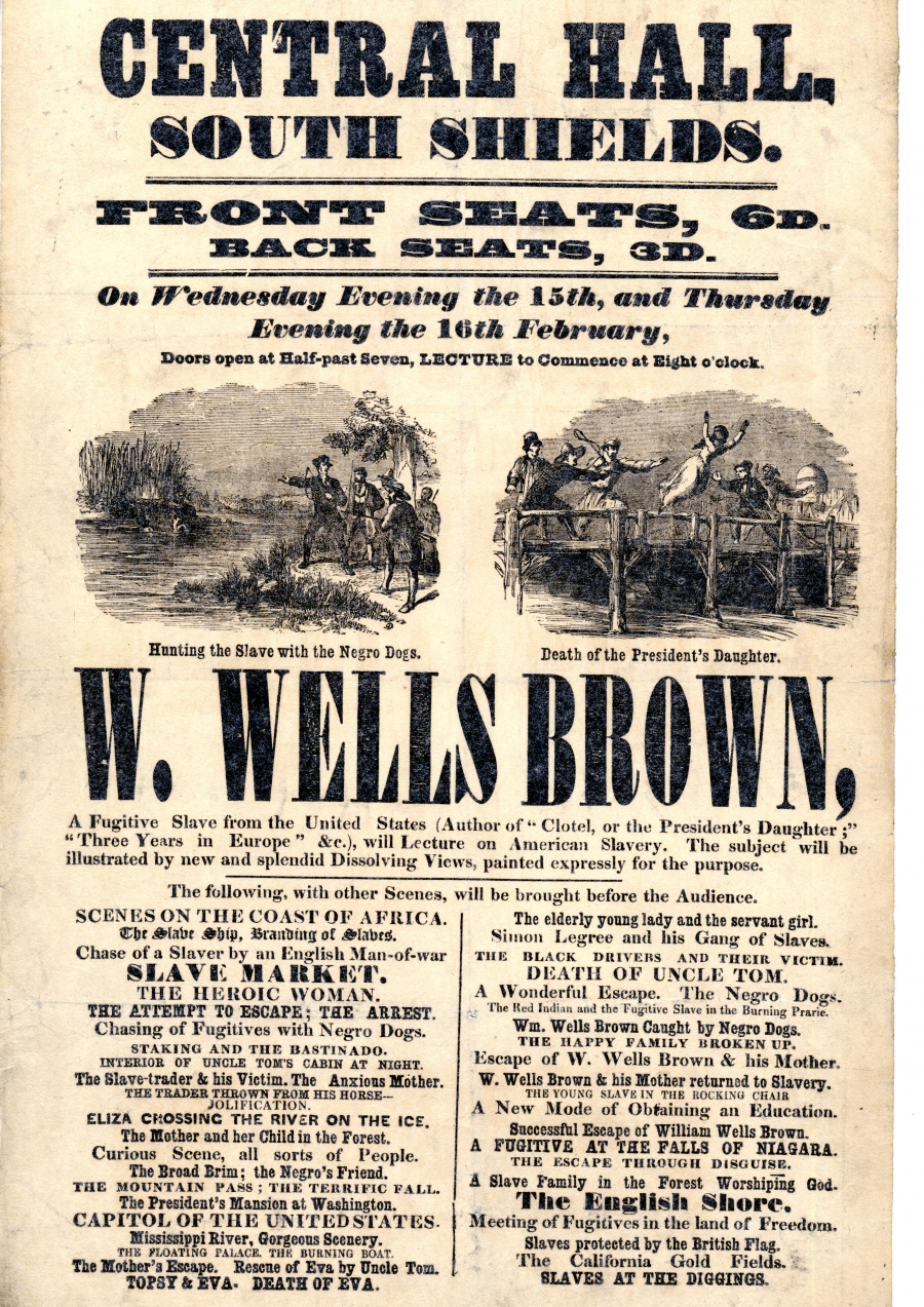 A broadside announcing a William Wells Brown lecture at South Shields, England.