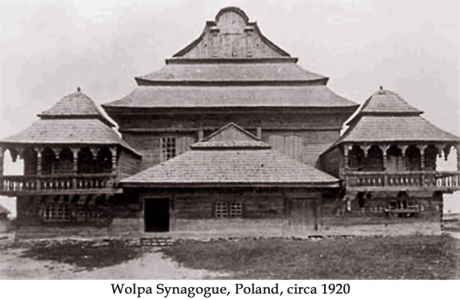 An old postcard showing the temple that used to stand in Wolpa, a town in what's now Belarus.
