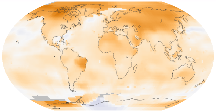 This map of the Earth shows surface temperature trends between 1950 and 2014.