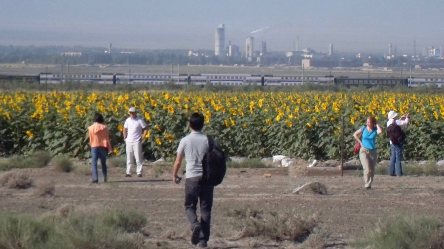 Power plants in China's western region of Xinjiang, with visiting journalists