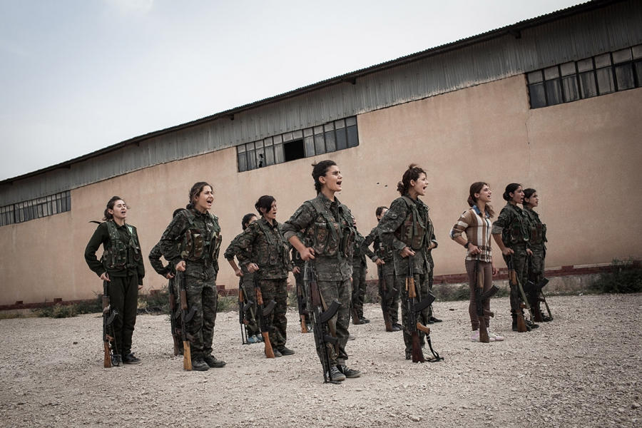 YPJ soldiers line up for drills in Syria.