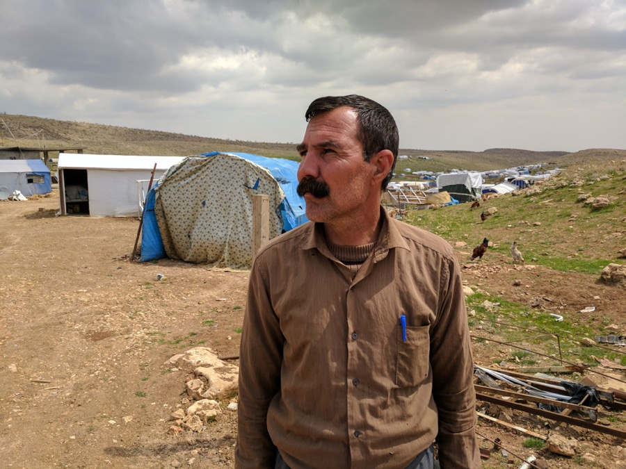 Hassan Selo, 41, has recently moved farther up Mount Sinjar.