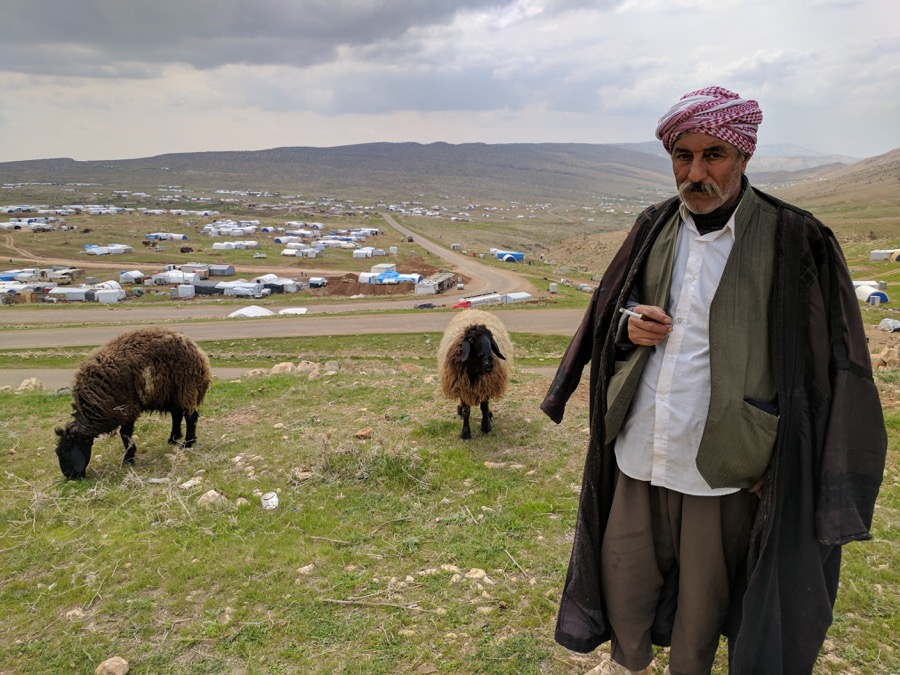 Fares Saido, 60, a Yazidi man from Tal Uzair who now lives on Mount Sinjar.