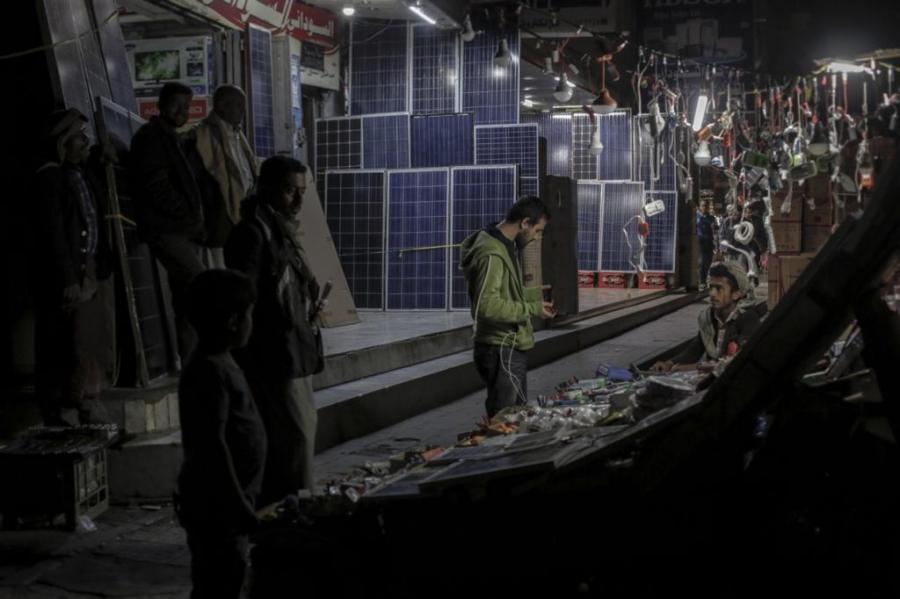 The electric grid in Sanaa, Yemen's capital city, has been dead for months. As a result, Yemenis have become experts in wattage. Here, solar panels are sold at the market. For those that can afford them, they'll help with the lights. But they won't power