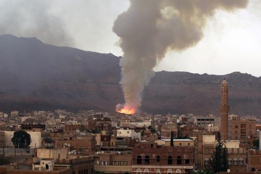 Smoke billows after an air-strike by Saudi-led coalition on May 11, 2015 in Sanaa.