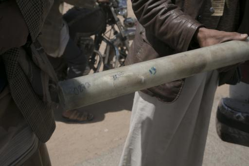 One of the tubes used to carry sub-munitions in cluster bombs, found in Saada.