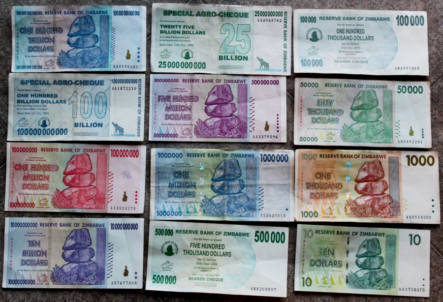 Zimbabwe bank notes.