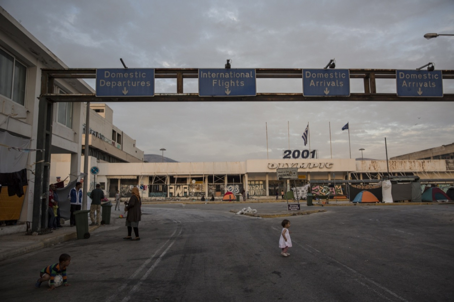 A scene from Helliniko, a disused airport that is now an informal shelter for thousands of migrants.
