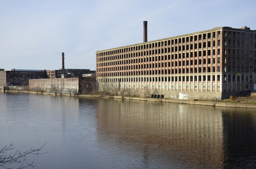 One of the many old textile mills that line the Merrimack River in Lawrence, Mass.