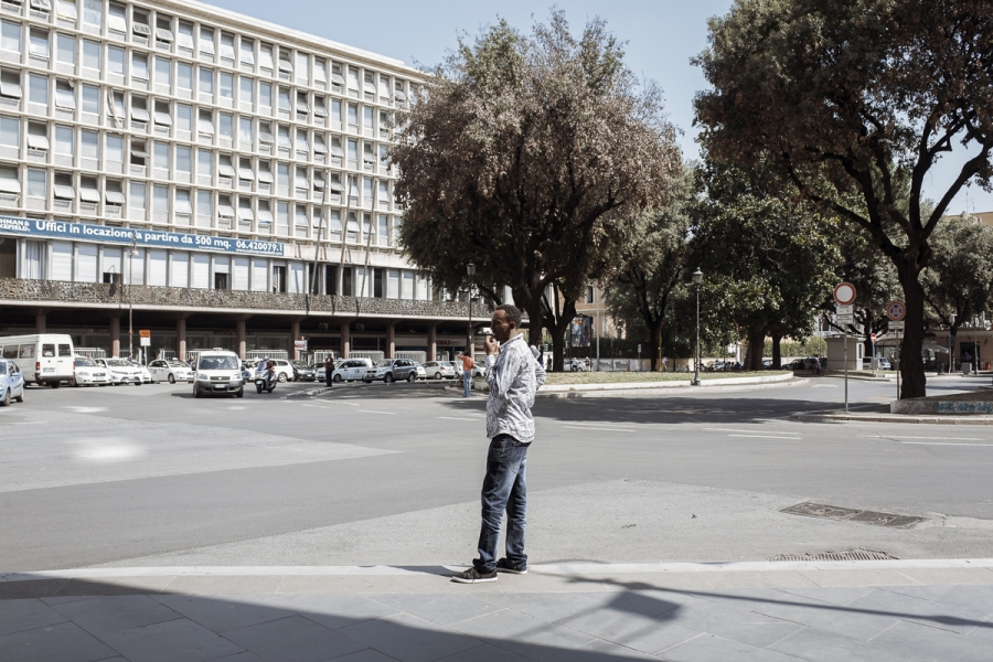 A former government ministry building, where Abraham lives, along with roughly 600 other squatters from Eritrea, Sudan and Ethiopia.