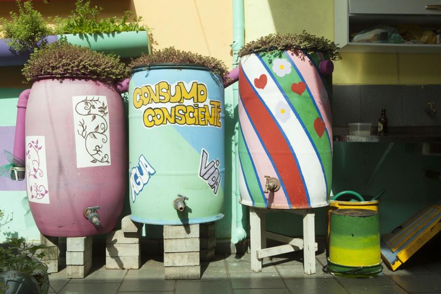 Da Silva keeps three rain barrels in her garden and one in her laundry room.