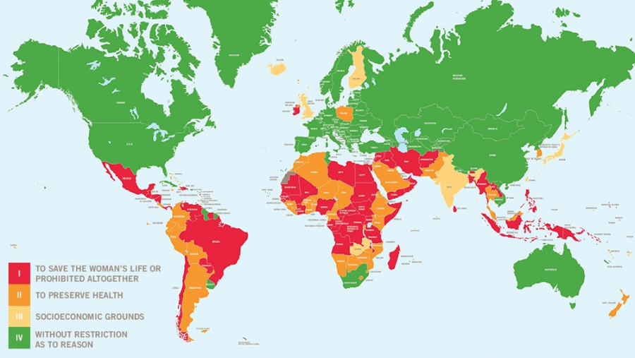 The World's Abortion Laws map 2014.