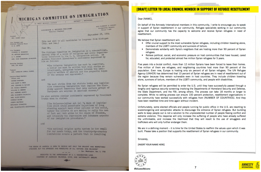 Template letter from Michigan Committee on Immigration on left, digital letter from Amnesty on right