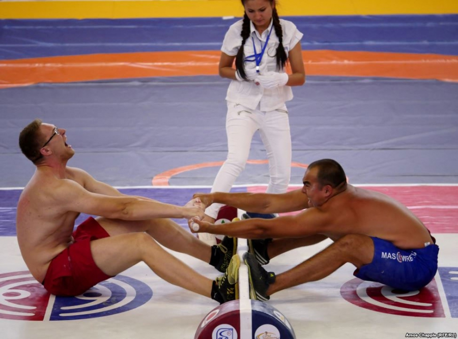 Mas wrestling is one of the sports held at the games. The sport is all about wresting a wooden stick from your opponent.