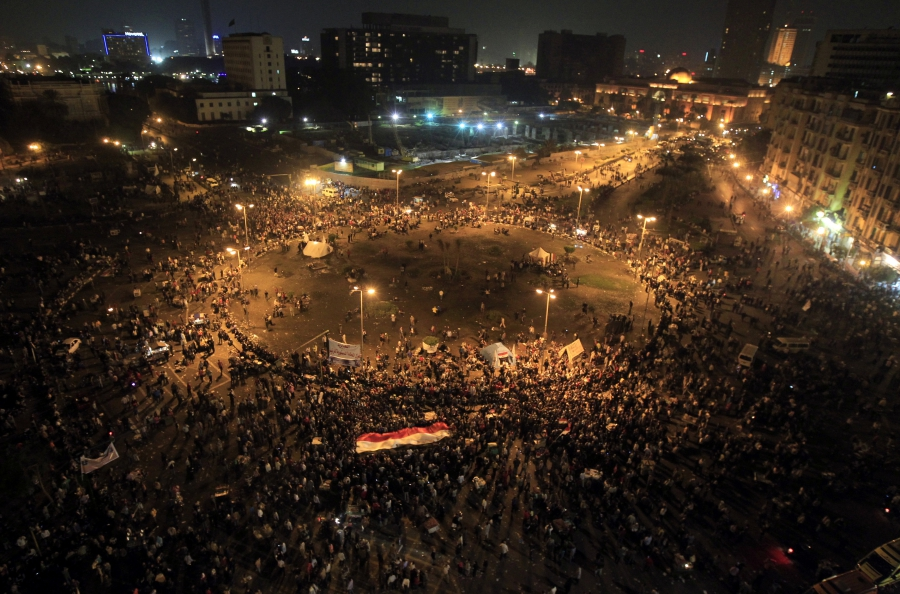 Protesters gather at Tahrir Square