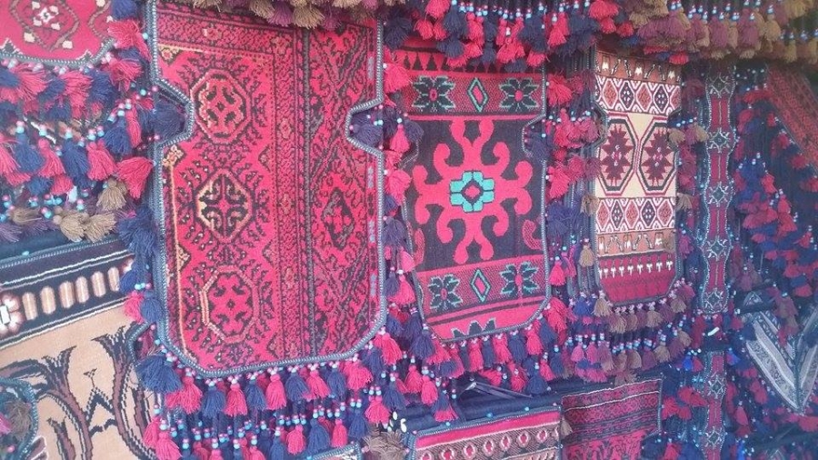 Rugs for sale at a market in Quetta, Pakistan.