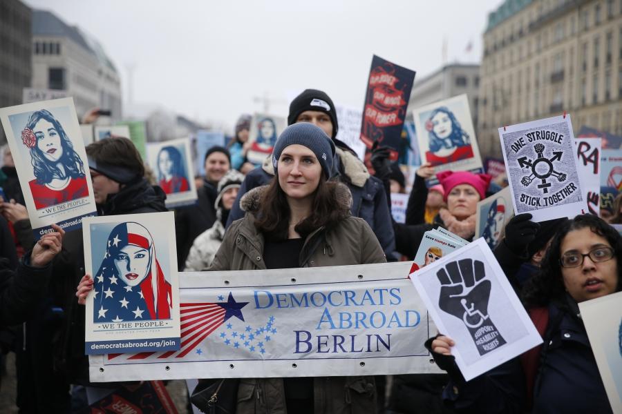 People gather in front of the US Embassy on Pariser Platz beside Brandenburg Gate