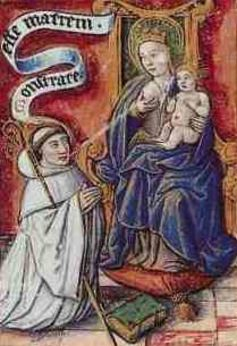 Bernard of Clairvaux drinks the milk of the Virgin Mary.