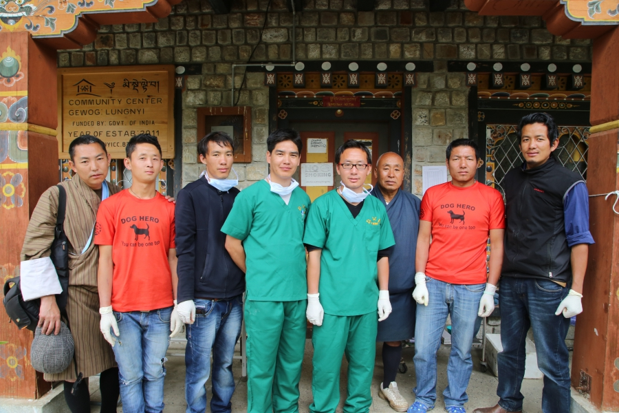 The dog population management team in Paro includes two vets (in green scrubs in front), vet techs, and dog catchers. At this point, most vets have personally done thousands of spay/neuter procedures.