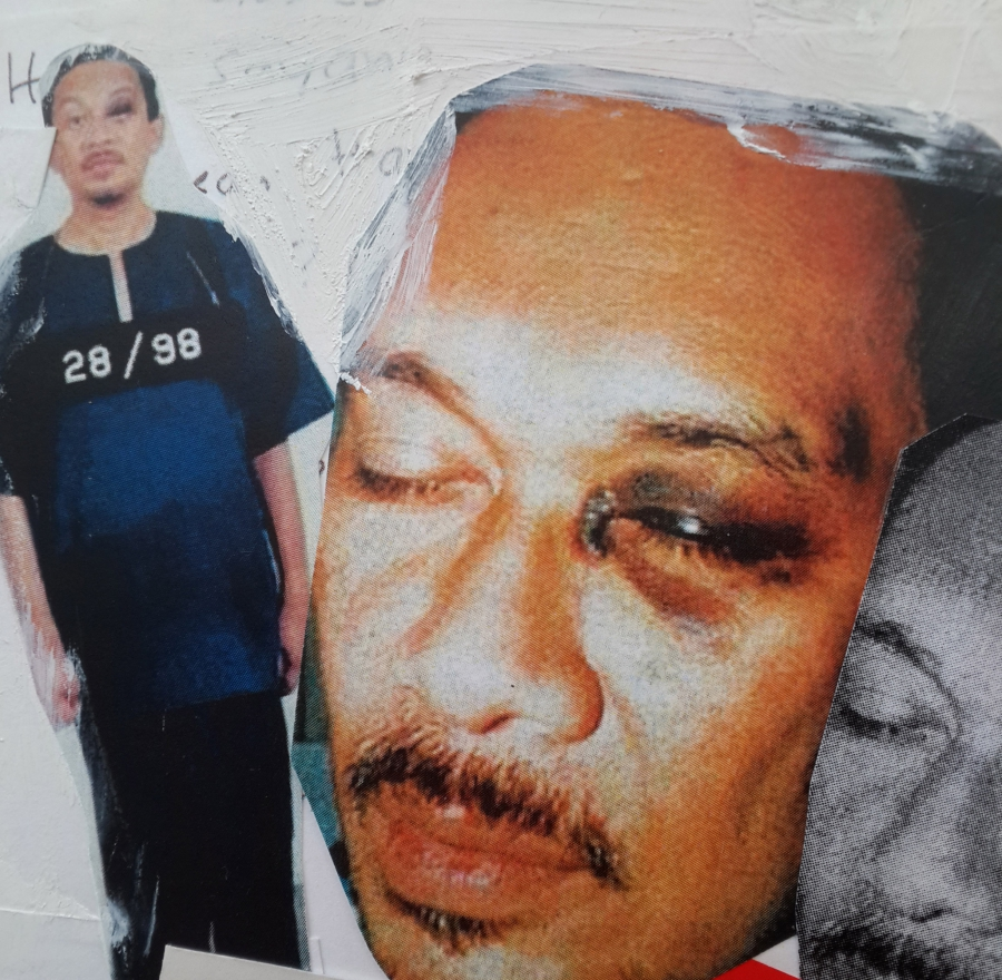 "An excerpt from ""My Dear Papa"" featuring images of Anwar Ibrahim's black eye."