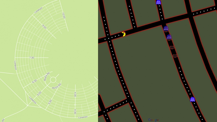 The map shows the street grid for Black Rock City, a city that exists only during the annual Burning Man Festival, held in the Black Rock Desert in Nevada. It also shows what the grid looks like as a Ms. Pac-Man game.