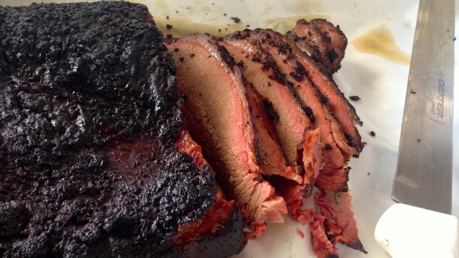 Here's what the brisket looks like at Chopped n Smoked.