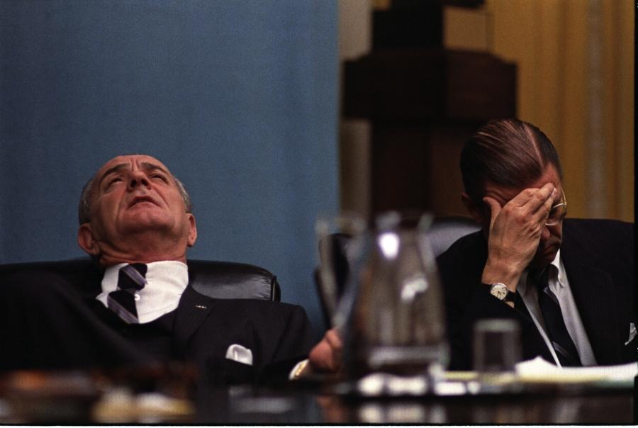 (L-R:) President Lyndon B. Johnson, Secretary of Defense Robert S. McNamara