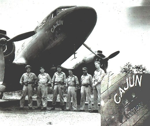 1943 photograph of the C-47 Cajun Coonass (with enlarged inset).