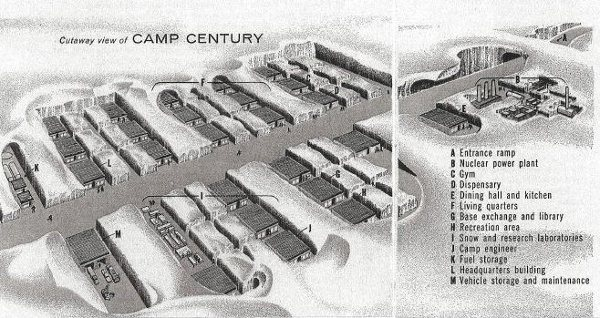 A cutaway view of Camp Century. The facilty dug into the Greenland ice sheet housed up to 200 soldiers and a small nuclear power plant. The reactor and its fuel were removed when the camp was closed, but a small amount of low-level nuclear waste was left