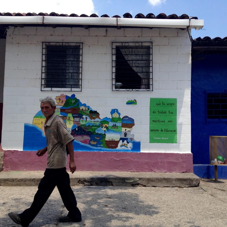 """This mural in San José de las Flores is a """"map of massacres"""" in El Salvador."""