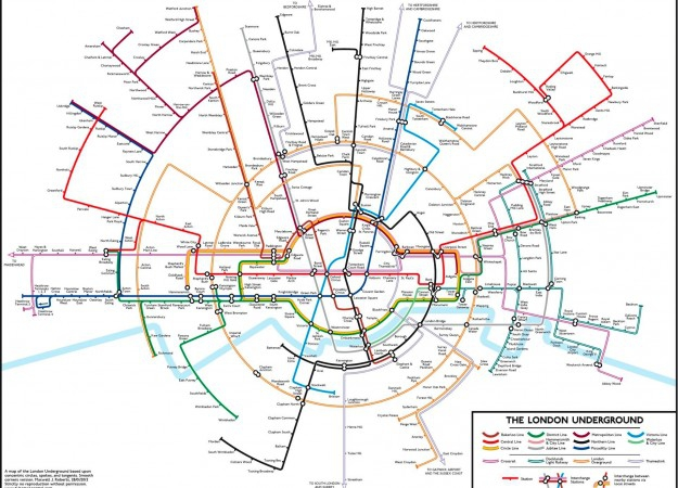 oberts's circular map of the London Underground. Image courtesy of Max Roberts and tubemapcentral.com