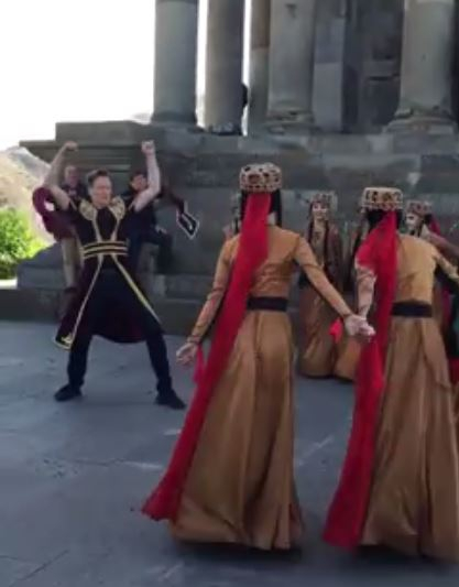 Conan O'Brien doing the traditional Armenian Kochari in front of the Garni Temple, Yerevan.
